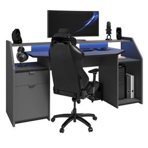 BUREAU  Bureau pour ordinateur, station e-gaming en bois M