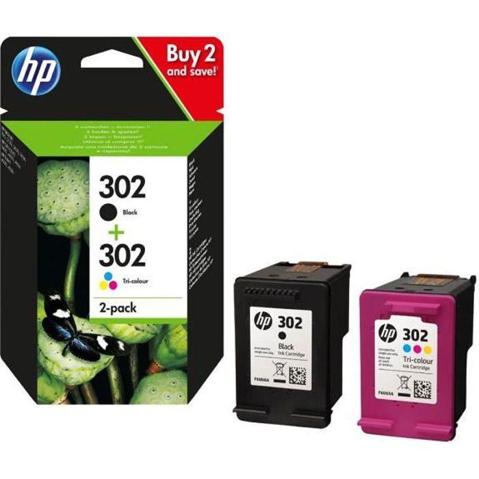 HP 302 Pack de 2 cartouches d'encre Noir et Trois couleurs (Cyan, Magenta, Jaune) authentiques