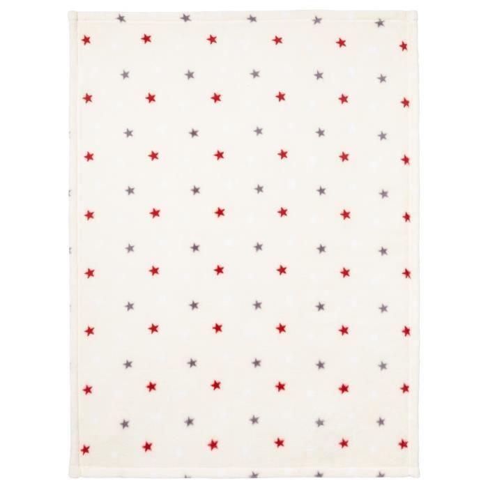 BABYCALIN Couverture flanelle 100% polyester - Étoile multicolore - 75 x 100 cm