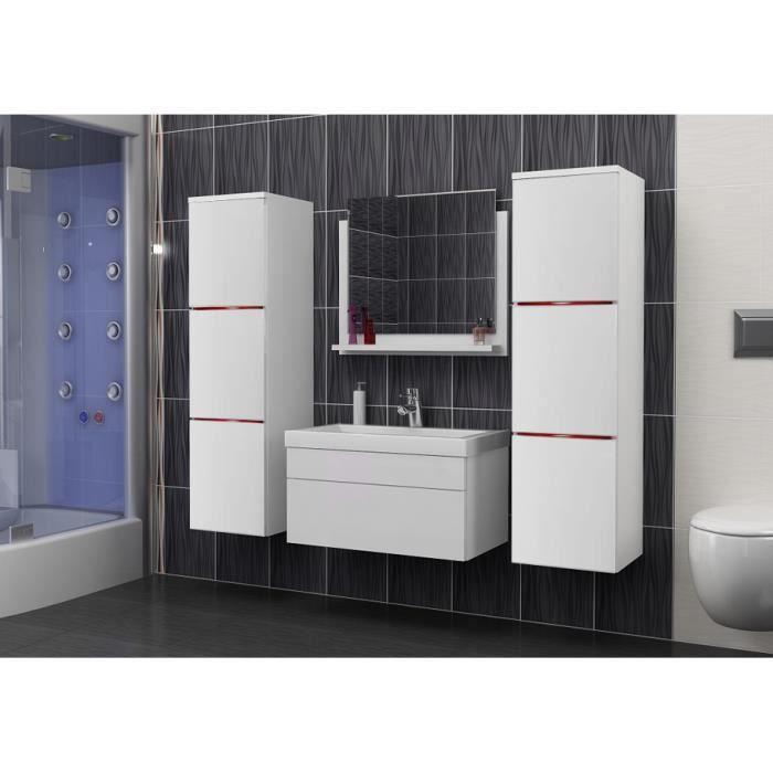Salle de bain compl te luna blanc mat led vasque en c ramique miroir meuble design - Prix salle de bain complete ...