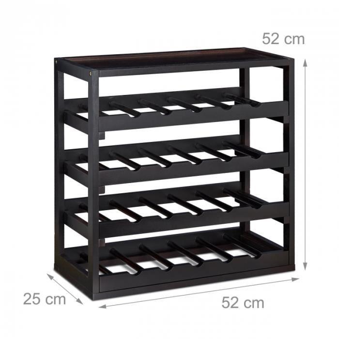 Casier à Bouteilles De Vin En Bois étagère à Vin Noir 52 Cm 4313039