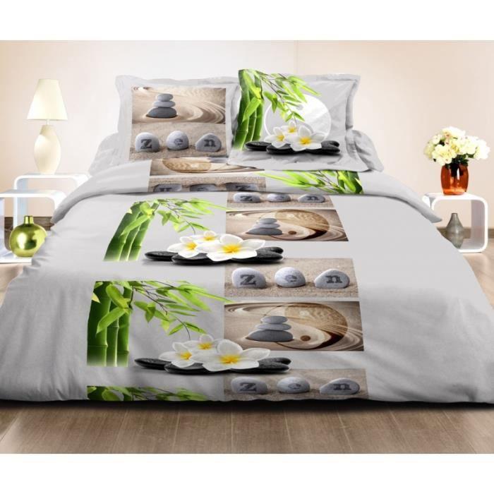 parure de draps 4 pi ces grande largeur zen ying 100 coton 57 fils cm achat vente. Black Bedroom Furniture Sets. Home Design Ideas