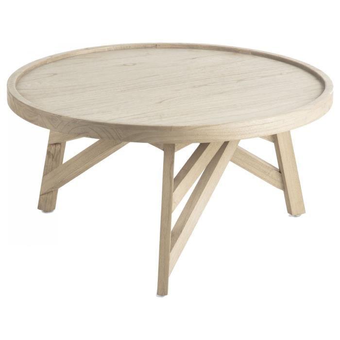 Table Basse Design Beige En Bois Massif 80øcm P 35041 Co Beige