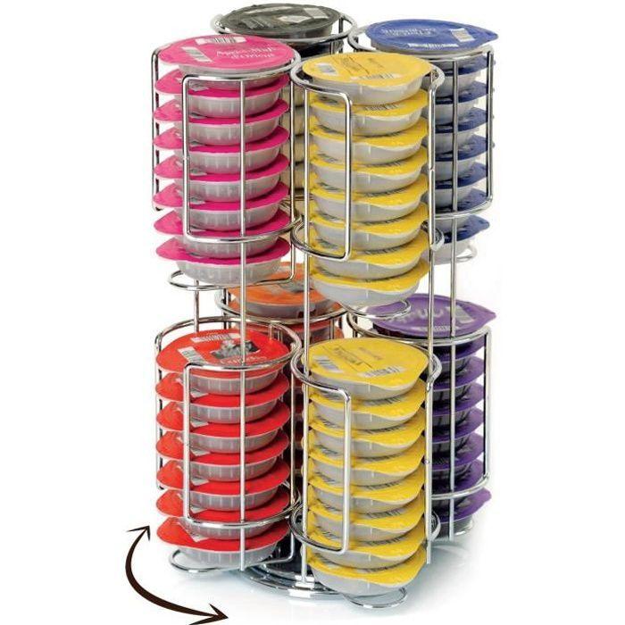 Porte Capsules - Distributeur Présentoir Rotatif Pour 64 Capsules Tassimo  Acier Chromé b77e79a6d7ee
