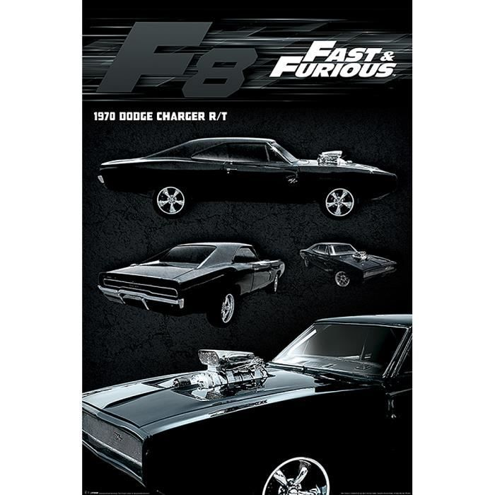 poster fast furious 8 dodge charger achat vente affiche poster cdiscount. Black Bedroom Furniture Sets. Home Design Ideas