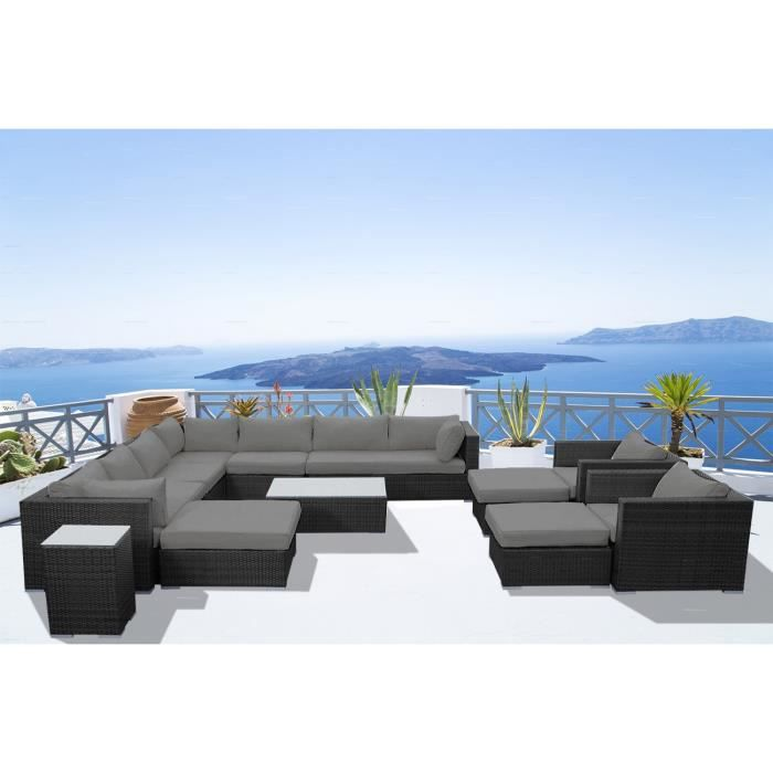 Stalla: Salon de jardin 13-14 pers modulable en résine tressée noire ...
