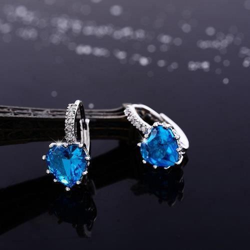 boucle doreille Violet Diamond Drop - Dangle Or Argent 925 Ht Cristal Zircon Mode Rétro pour les femmes