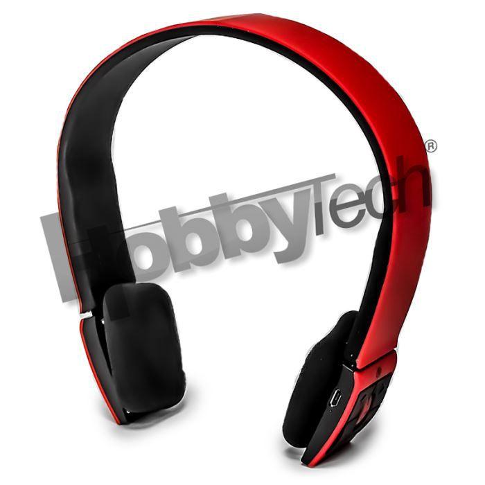 Casque Stéréo Bluetooth Qualité Hifi Rouge Casque écouteurs