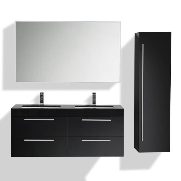 Meuble une vasque salle de bain noir - Achat / Vente pas cher