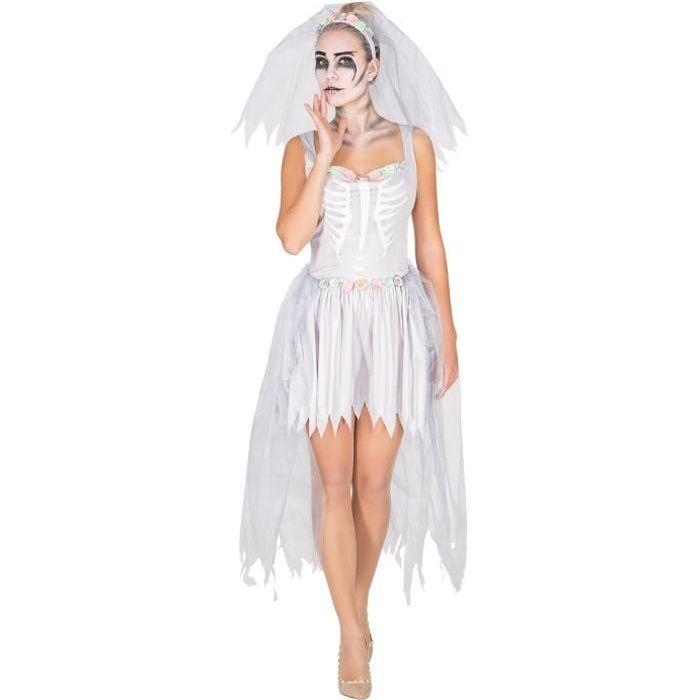 Déguisement À Voile De Tectake Blanc Fleurs1 Adulte SqueletteRobe Fantôme Femme Mariée I6g7yYvbf