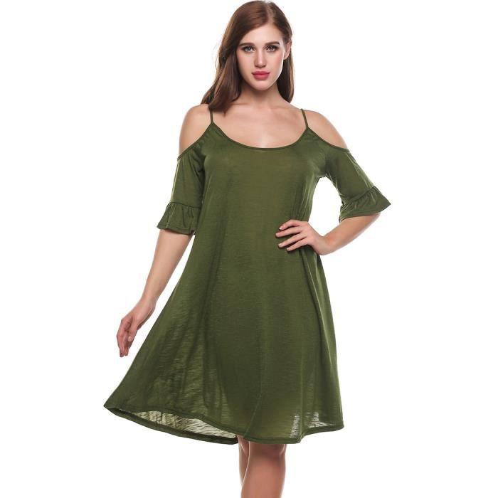 robe femmes a-ligne Casual Flare moitié O-cou à manches hors Spaghetti solide plissées ourlet bretelles de Cami