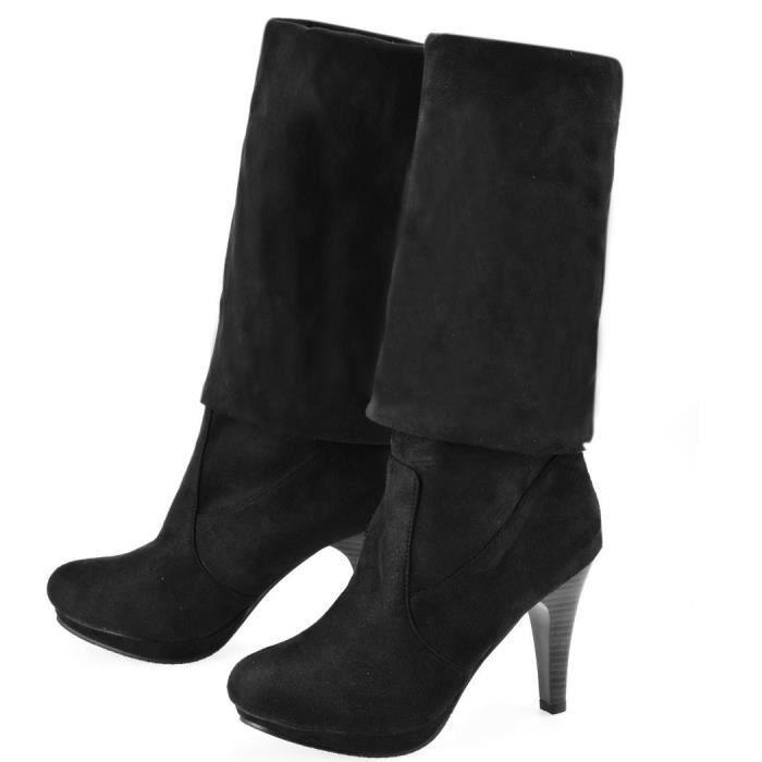 Bottes à haute en Suède Femmes Chaussure sur le genou bottine étanche