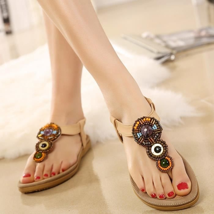 Sandales femme plat mode perles de Bohème rJYlcY1iGZ