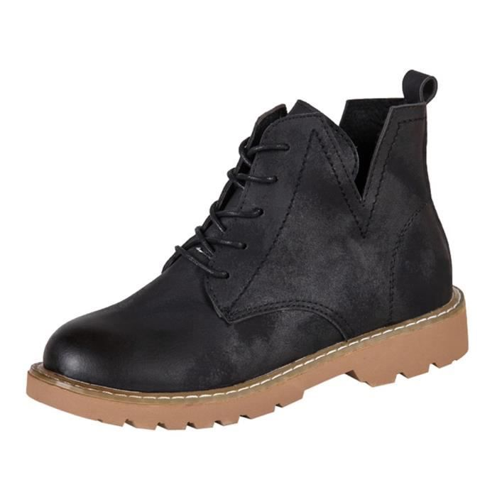 Casual Shoes Leather Flat 6398 Femmes Noir Low Boots Toe Martin xz Round Trim Ankle nwq8CqB6