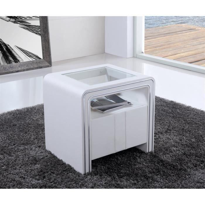 trendy chevet table de chevet s blanc simili cuir with table de chevet plexiglas. Black Bedroom Furniture Sets. Home Design Ideas