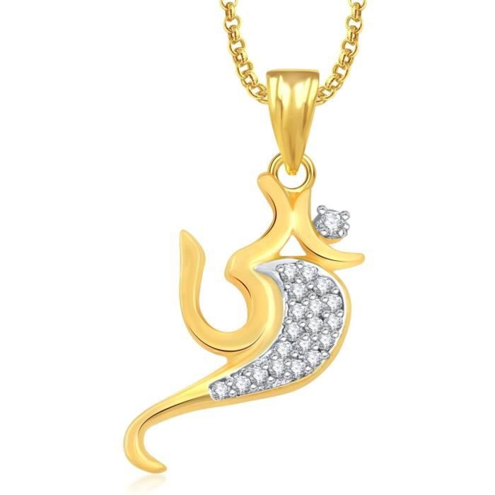 Womens Om God Pendant With Chain For ,gold Plated In American Diamond Cz Jewellery Gp0345 AVO3Q