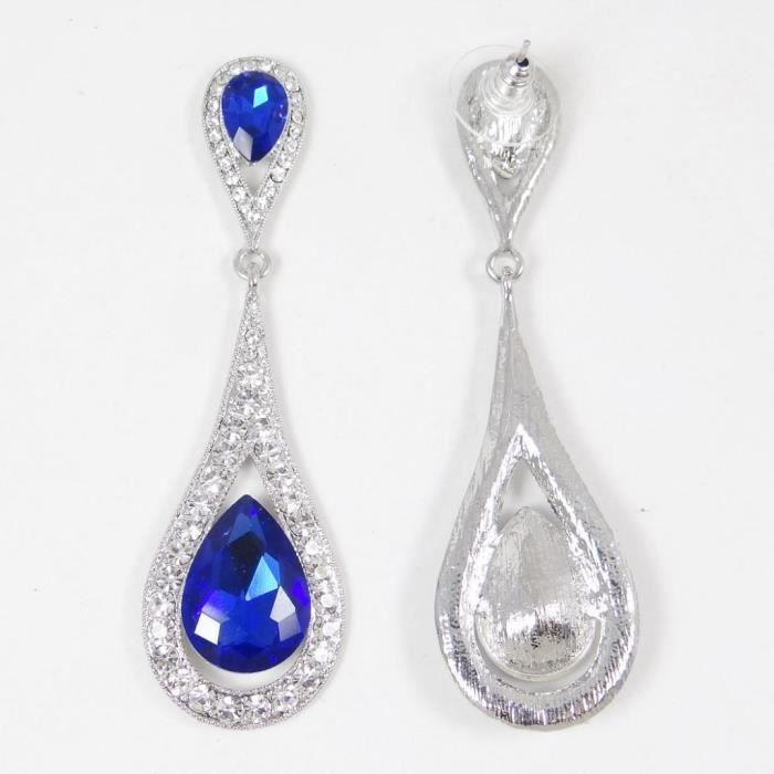 Ever Faith -Femme Art Déco Goutte deau Cristal Autrichien Boucles doreilles-Bleu Plaqué Argent N01999-2