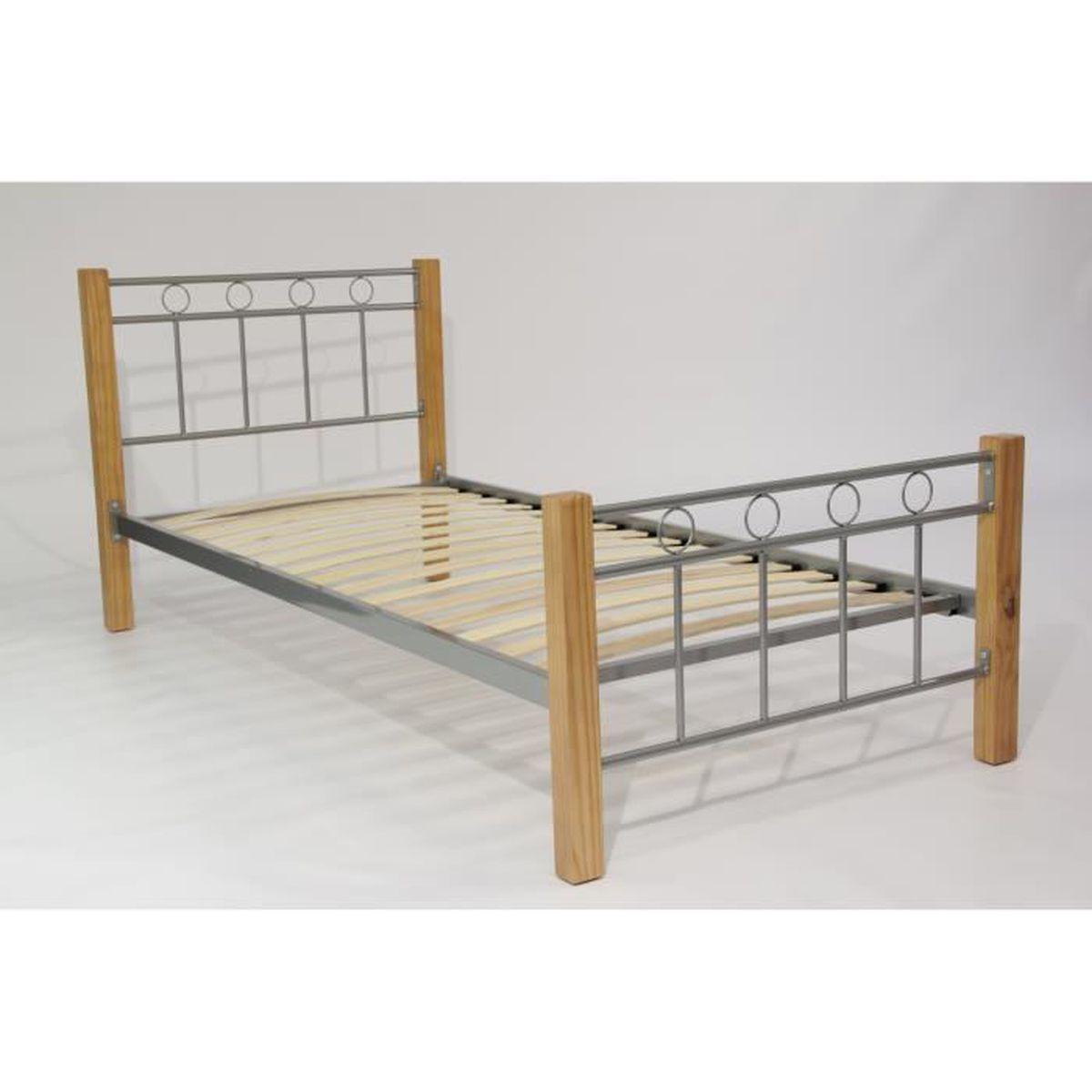 lit en m tal et bois eveline sommier 90x190 cm id al pour la chambre coucher de vos enfants. Black Bedroom Furniture Sets. Home Design Ideas