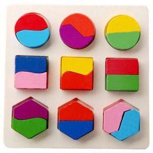 PUZZLE Enfants bébé géométrie en bois Building Blocks Puz