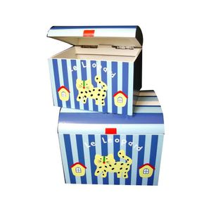 COFFRE - MALLE Coffres en bois peint bleu/blanc décor léopard lot