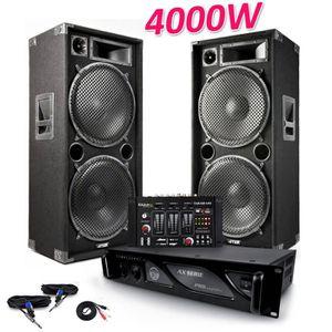 POCHETTE CADEAU Pack Sono 2 Enceintes PRO 4000W MAX215 + Table de