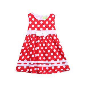 4c83cbed85f4b ROBE 0-24 Mois Bébé Fille Robe Rouge à Pois Blanc Sans