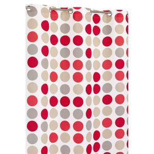 RIDEAU Rideau Multicolore Motif Ronds Blanc Beige Rouge