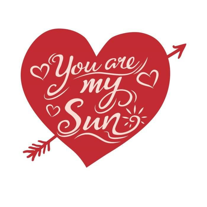 Stickers adhésif mural You are my sun heart - Rouge - 47x40cm