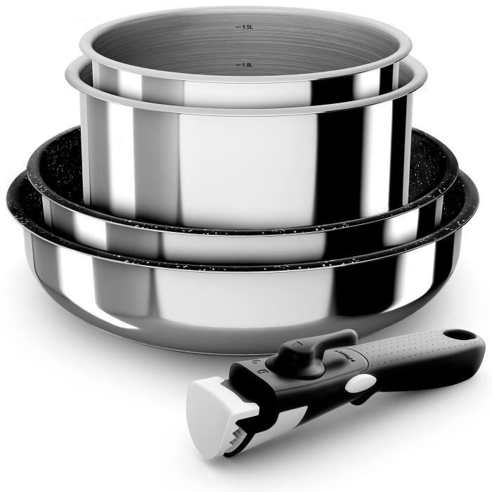BACKEN Set de batteries de cuisine - Inox - 5 pièces - Tous feux dont induction