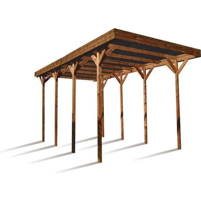 MADEIRA Carport autoportant en bois pour camping-car 30m²