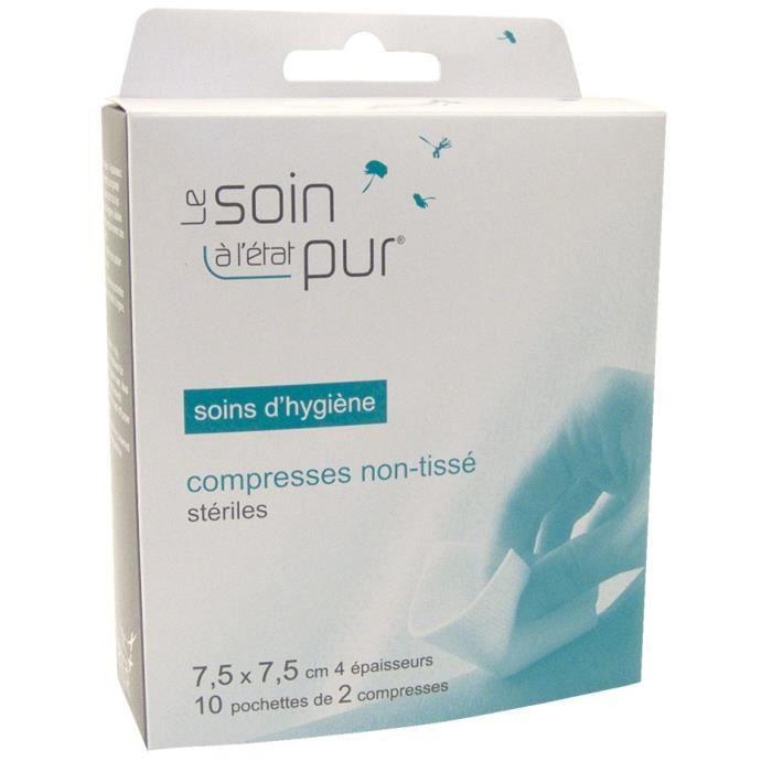 SOIN ETAT PUR 10 Compresses Stériles Non Tissées 7,5 x 7,5 cm