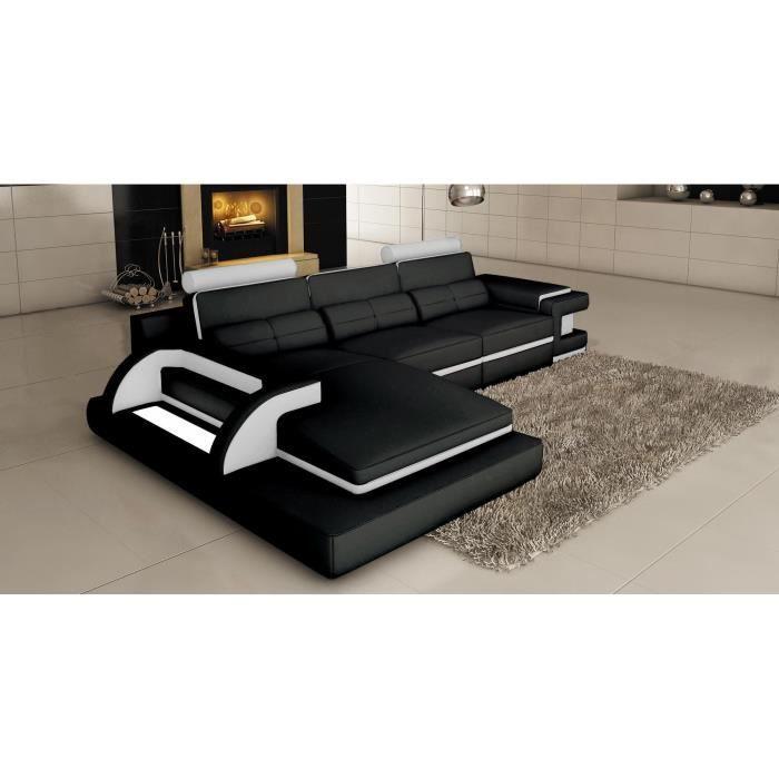 765986a769aae Canapé d angle design noir et blanc avec lumiere SCOLO - Achat ...