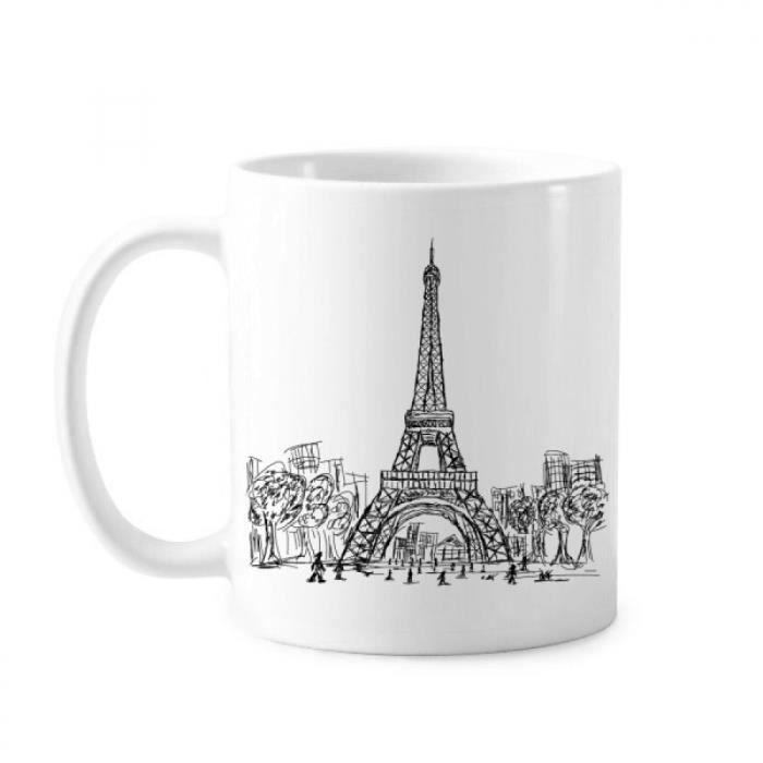 Ml Eiffel Poterie 350 Café Tour Poignées Blanc De France Avec Mug En Paris Classique Coupe Lait stdCBhrQx