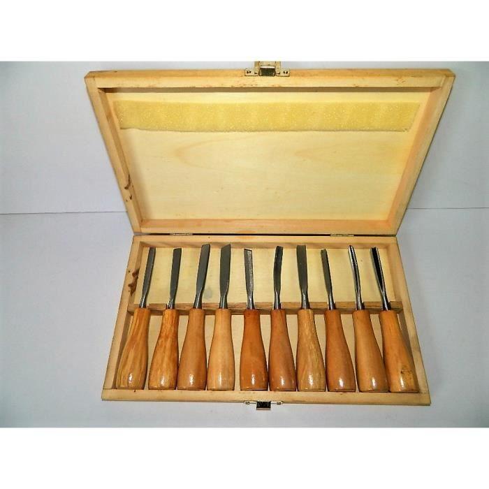 10 ciseaux gouges bois avec bo te de rangement sculpteur - Gouge sculpture bois ...