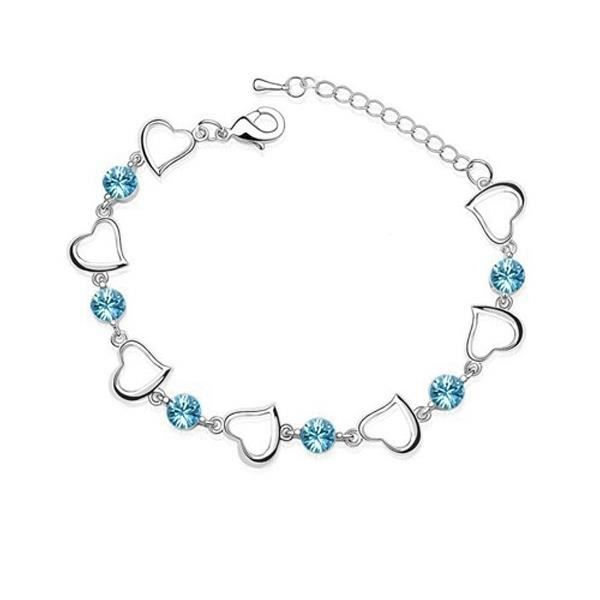Bracelet Coeurs et Cristal Swarovski Element Bleu