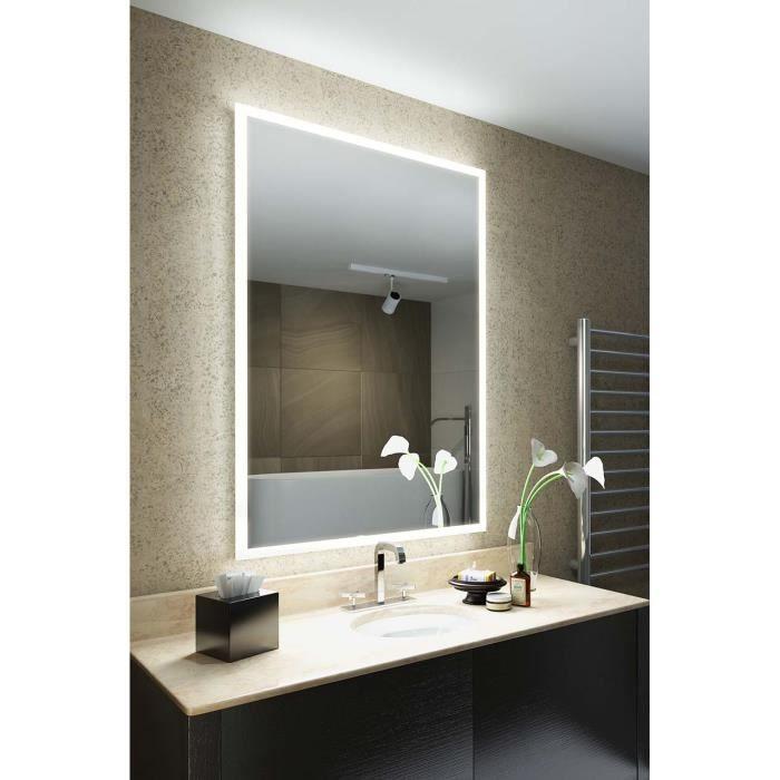 Miroir de Salle de Bain Vena Rasoir à Cadre LED avec Anti-buée & Capteur  k842iv - Blanc Taille :H:980mm x W:680mm x D:55mm-Diamond