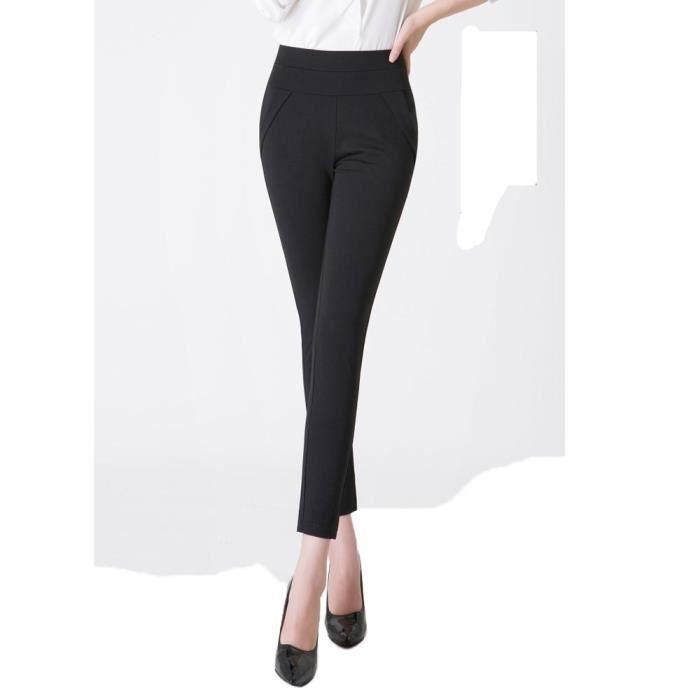 pantalon 7 8 femme slim fit taille haute pantalon skinny stretch confortable couleur unie noir. Black Bedroom Furniture Sets. Home Design Ideas