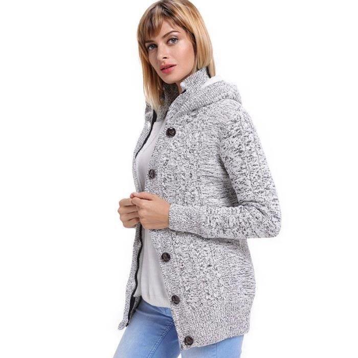 59b8ea6c553d8 Gilet Femme À Capuche Chandail Cardigan Tricot Chaud Sweater Femme Hiver  Bouton+Zippée
