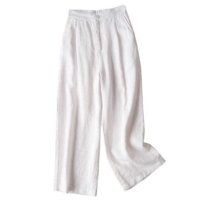 fbac829fad8c Automne Nouveau Coton Lin Jambe Large Femme Pantalons Bouton Taille  Elastique Pantalons Blanc