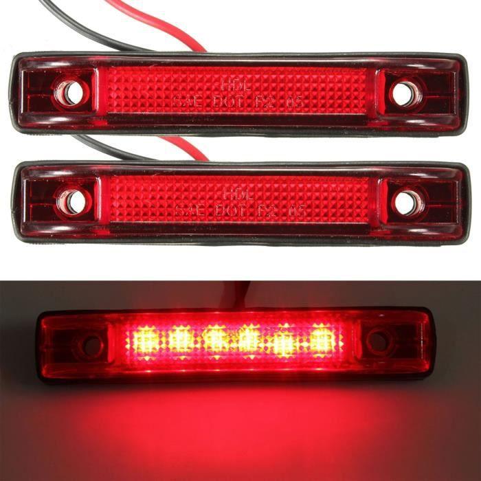 Camion Voyant Led Feux 12v L'interrupteur Position Remorque 6 Rouge 2pcs Lampe hrsdtQ