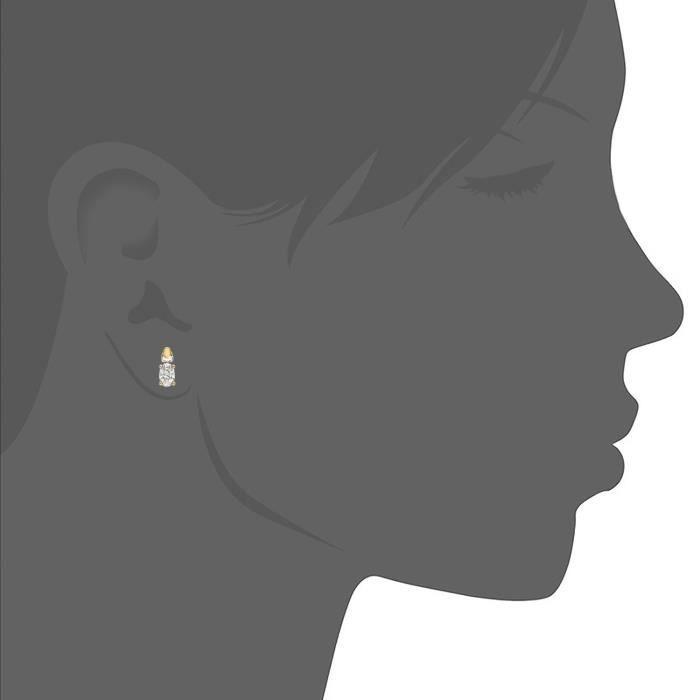 Boucles Doreille - Femme - Or (9 Carats) De Bicolore 0.95 Gr - Oxyde De Zirconium LJOCN