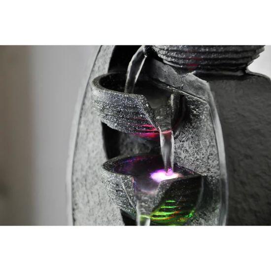 ZENu0027LIGHT Fontaine Du0027intérieur Cascade V.2   Décoration Zen Apaisante    Eclairage LED   SCFR07D   Noire   Achat / Vente Fontaine Intérieure Résine    ...