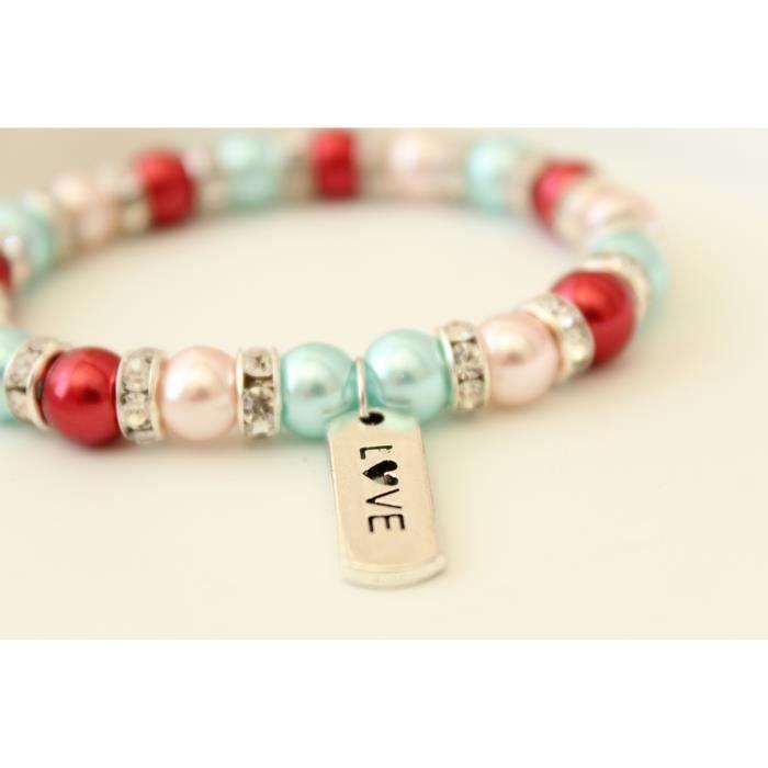 Femme Rose Rouge Bleu Amour Charm perle perlée Bracelet extensible pour - 6 SCG7L L0BDxxVIzm