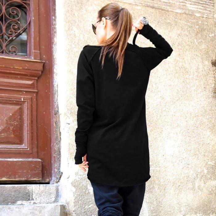 Chemisier Zipper Solide Épaules Noir Manches Tops shirt Longues De Femme Sweat atqOxzf