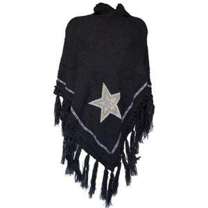 PONCHO CHALE ETOILE Noir - Achat   Vente echarpe - foulard ... a80197cc326