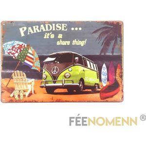 OBJET DÉCORATION MURALE Plaque Métal Déco Vintage - Combi Paradise Beach (
