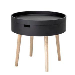 TABLE BASSE Table basse ronde TANA (D50) en bois noir avec pie