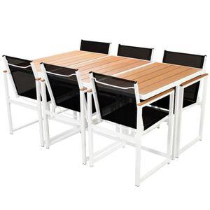 Salon de jardin Vasto Nuances de gris table en résine tressée 6 à 10 ...