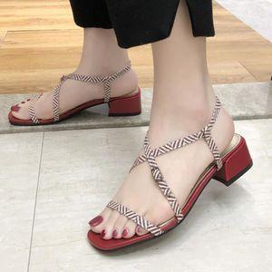 abfd5790f50b6 SANDALE - NU-PIEDS Chaussures Femmes talon haut Sandales Ceinture Bou ...