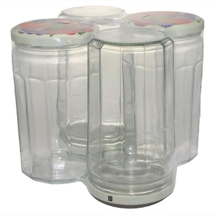 BJ Pack 4 confituriers avec couvercle - 645 ml